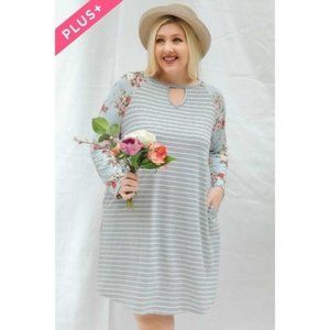 Davi & Dani Floral Striped Tee Dress PLUS